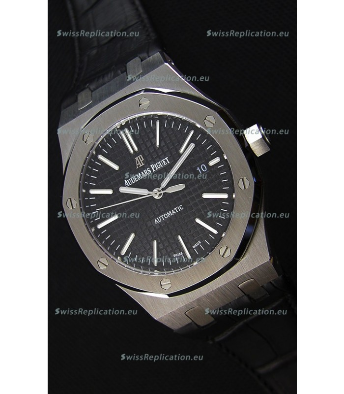 Audemars Piguet Royal Oak 41MM Black Dial Leather Strap - 1:1 Mirror Ultimate Edition