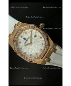 Audemars Piguet Royal Oak Ladies Quartz Replica Watch in Pink Gold Case