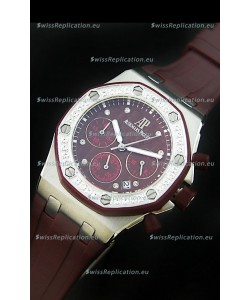 Audemars Piguet Royal Oak Offshore Lady Alinghi Swiss Watch in Maroon Dial
