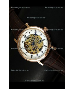 Breguet Classique Japanese Automatic Watch in Gold Skeleton Dial - Arabic Hour Numerals