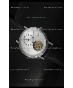 Breguet Classique Tourbillon Swiss Replica Watch in Stainless Steel with Diamonds Bezel