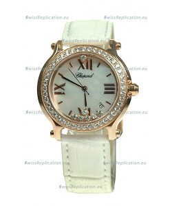 Chopard Happy Sport Swiss Ladies Swiss Replica Gold Watch in Diamond Bezel