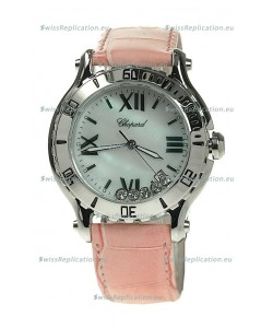 Chopard Happy Sport Diamonds Edition Replica Watch in Pink Strap
