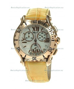 Chopard Happy Sport Diamonds Edition Replica Gold Watch in Yellow Strap