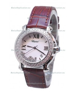 Chopard Happy Sport Star Shaped Diamonds Swiss Watch in Brown Strap