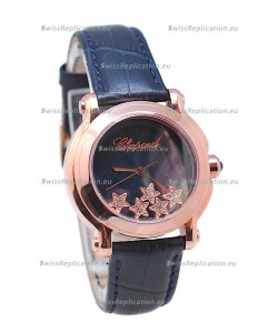 Chopard Happy Sport Star Shaped Diamonds Swiss Rose Gold Watch