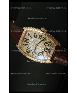 Franck Muller Casablanca Gold Croco Watch in Gold Case