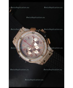 Hublot Big Bang Rose Gold Watch Quartz Movement in Black Strap