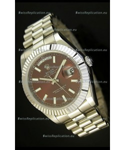 Rolex Day Date II 41MM Swiss Replica Watch - Brown Dial - 1:1 Mirror Replica Watch