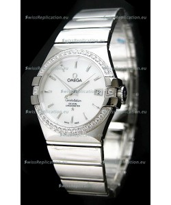 Omega Constellation Mens Swiss Automatic Watch in White Dial - 1:1 Mirror Replica