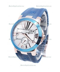 Ulysse Nardin Executive Dual Time Japanese Replica Watch in Smooth Blue Bezel