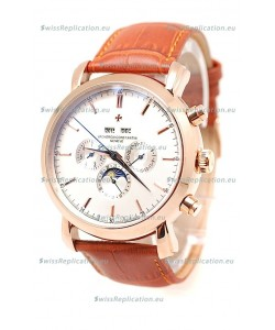Vacheron Constantin Malte Perpetual Chronograph Japanese Replica Watch in White Dial