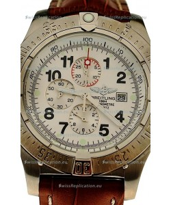 Breitling Chronograph Chronometre Japanese Watch in Brown Strap