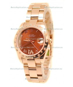 Rolex Datejust Japanese Replica Rose Gold Watch in Brown Dial - 36MM