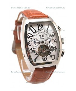 Franck Muller Conquistador Tourbillon Japanese Watch in Brown Strap