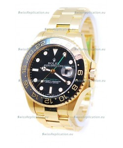 Rolex GMT Masters II 2011 Edition Swiss Replica Gold Watch in Black Cerarmic Bezel