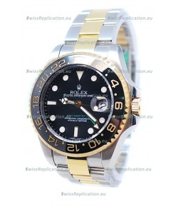 Rolex GMT Masters II 2011 Edition Swiss Replica Two Tone Watch in Black Cerarmic Bezel