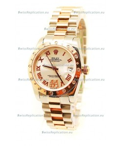 Rolex Datejust Two Tone Rose Gold Swiss Replica Watch - 36MM