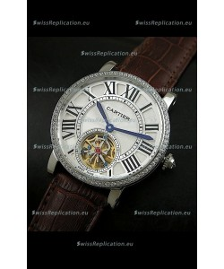 Cartier Ronde de Tourbillon Japanese Replica Diamond Watch in Brown Strap