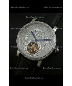 Cartier Ronde de Tourbillon Japanese Replica Diamond Watch in Black Strap