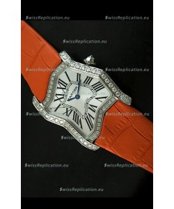 Cartier Tank Folle Ladies Replica Watch in Steel Case/Orange Strap