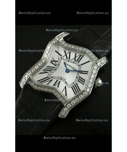 Cartier Tank Folle Ladies Replica Watch in Steel Case/Black Strap