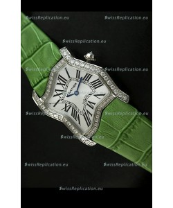 Cartier Tank Folle Ladies Replica Watch in Steel Case/Green Strap