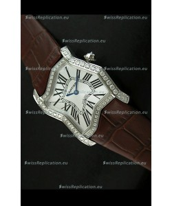 Cartier Tank Folle Ladies Replica Watch in Steel Case/Brown Strap