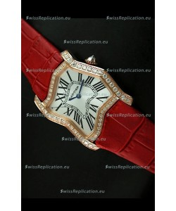 Cartier Tank Folle Ladies Replica Watch in Yellow Gold Case/Red Strap