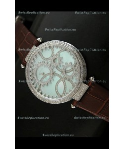 Cartier Replica Watch with Diamonds Embedded Dial Bezel in Steel Case/Brown Strap