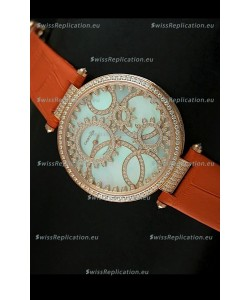 Cartier Replica Watch with Diamonds Embedded Dial Bezel in Gold Case/Orange Strap
