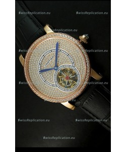 Ronde De Cartier Tourbillon Replica Watch Pink Gold Case - Black Strap