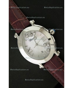 Chopard Happy Sport Ladies Japanese Replica Watch in Brown Strap