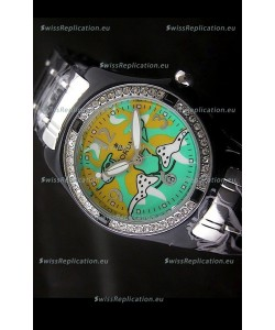 Corum Imitation Ceramics Japanese Replica Watch in Light Green & Yellow Dial