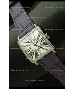 Franck muller Master Square Japanese Replica Watch in Violet Strap