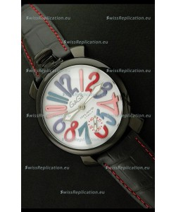 Gaga Milano Italy Japanese Replica PVD Watch in White Dial