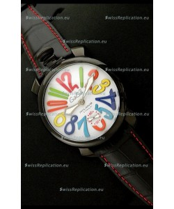 Gaga Milano Italy Japanese Replica PVD Watch in Black Leather Strap