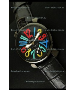 Gaga Milano Italy Japanese Replica PVD Watch in Multi Colour Arabic Markers