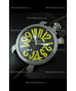 Gaga Milano Italy Manuale Replica Japanese Watch in Yellow Markers