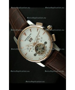 Mont Blanc Flying Tourbillon Japanese Replica Watch with Gold Bezel