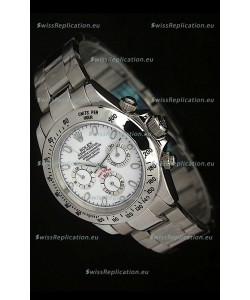 Rolex Daytona Japanese Replica Steel Watch in White Stick Hour Markers