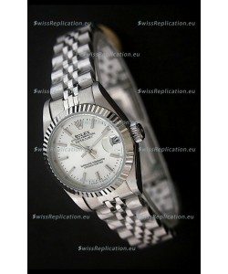 Rolex Datejust Oyster Perpetual Superlative ChronoMeter Swiss Watch in White Dial