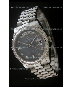 Rolex Day Date Just swiss Replica Watch in Mop Black Dial
