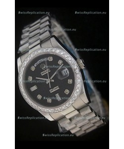 Rolex Day Date Just swiss Replica Watch in Black Dial