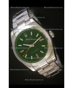 Rolex Oyster Perpetual Milgauss Swiss Replica Stainless Steel Watch in Black Dial