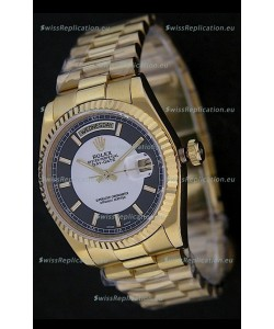Rolex Day Date Just JapaneseReplica Yellow Gold Watch in Black & White Dial