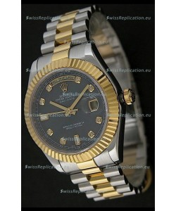 Rolex Day Date Just swiss Replica Two Tone Gold Watch in Mop Grey Dial
