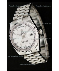 Rolex Day Date Just swiss Replica Silver White Watch