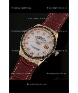 Rolex DateJust Japanese Mens Replica Yellow Gold Watch in Diamond Markers