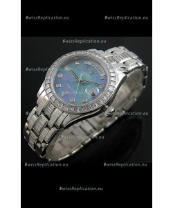 Rolex Oyster Perpetual Day Date Swiss Replica Watch in Blue Mother of Pearl Dial